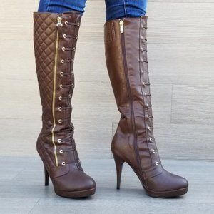 Brown Quilt Knee High Platform Boots